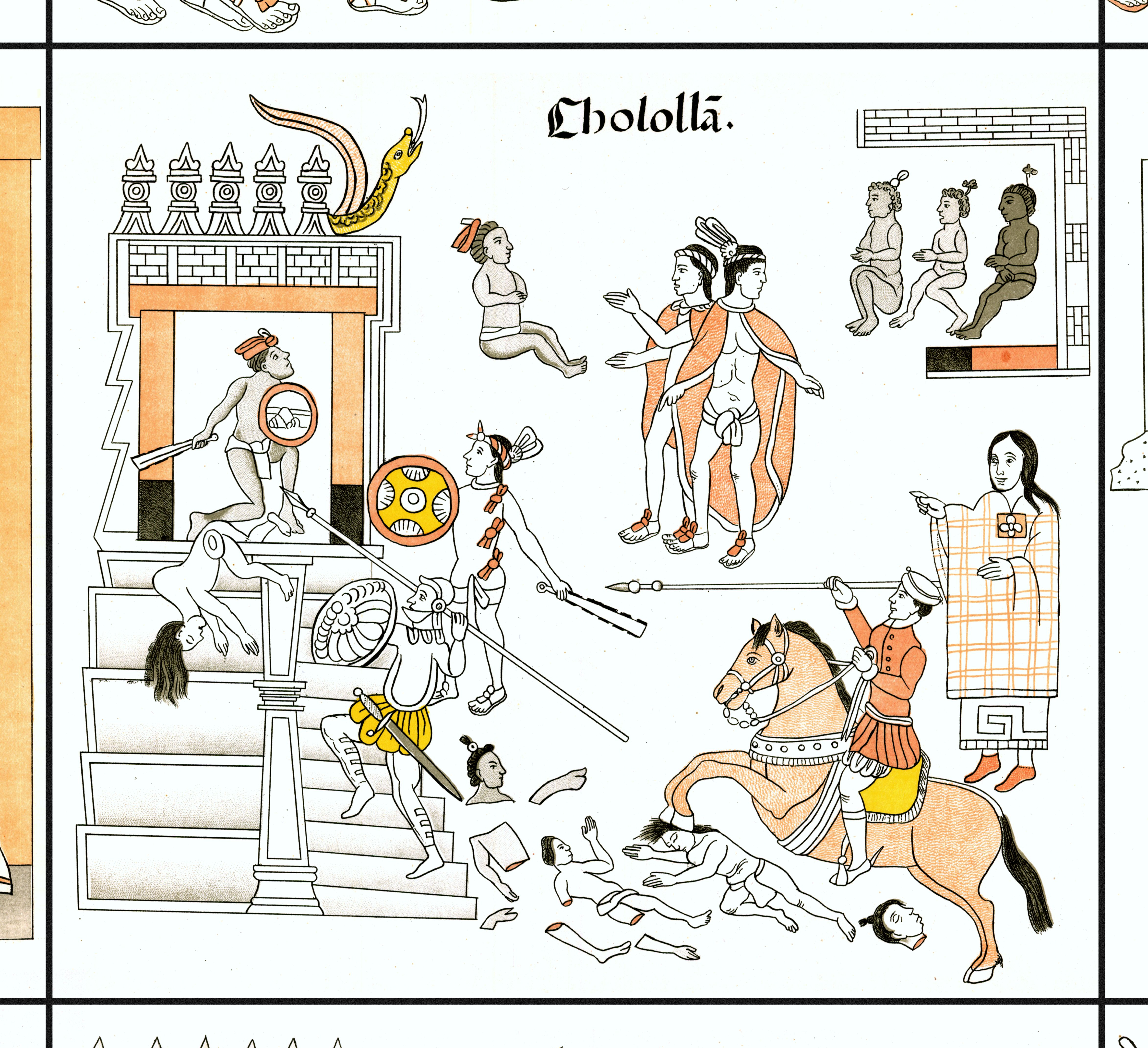 FIGURE 2. Cell 9: Malinche, standing to the right and wearing red shoes, directs the European-Tlaxcalan attack against the Temple of Quetzalcoatl in Cholula.