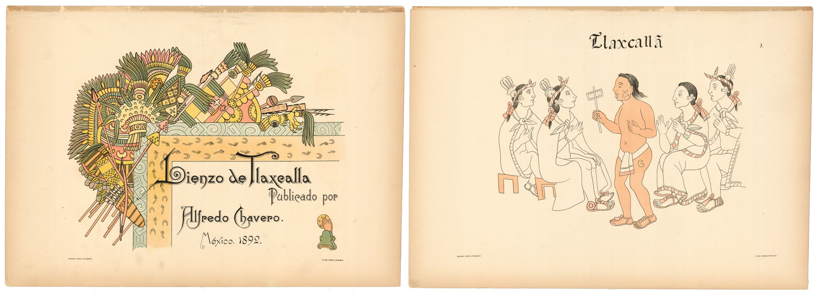 FIGURE 7. Title Plate (left) and Plate 1 (right) of the Lienzo de Tlaxcala, from the _Homenaje á Cristóbal Colón_.