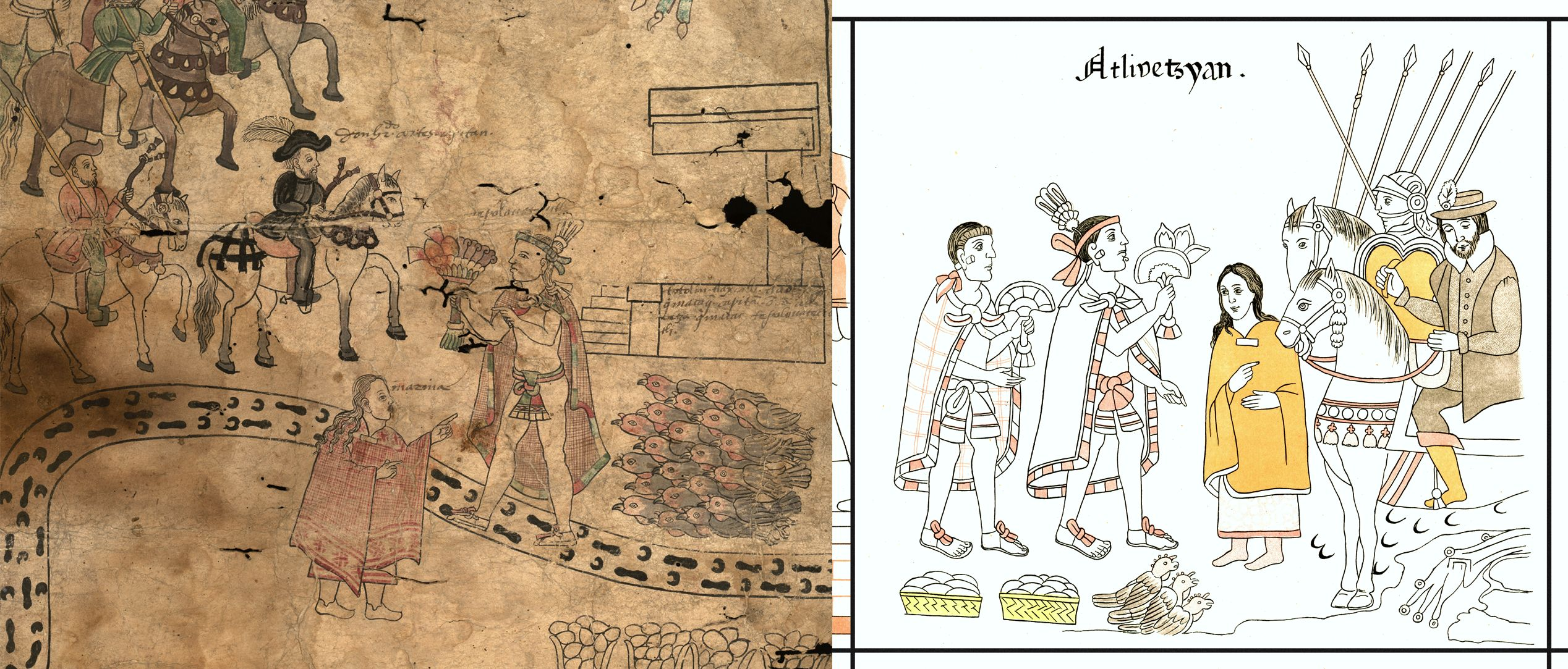 FIGURE 8. Comparison of a scene from the Texas Fragment with its cognate in the Lienzo de Tlaxcala (cell 4).