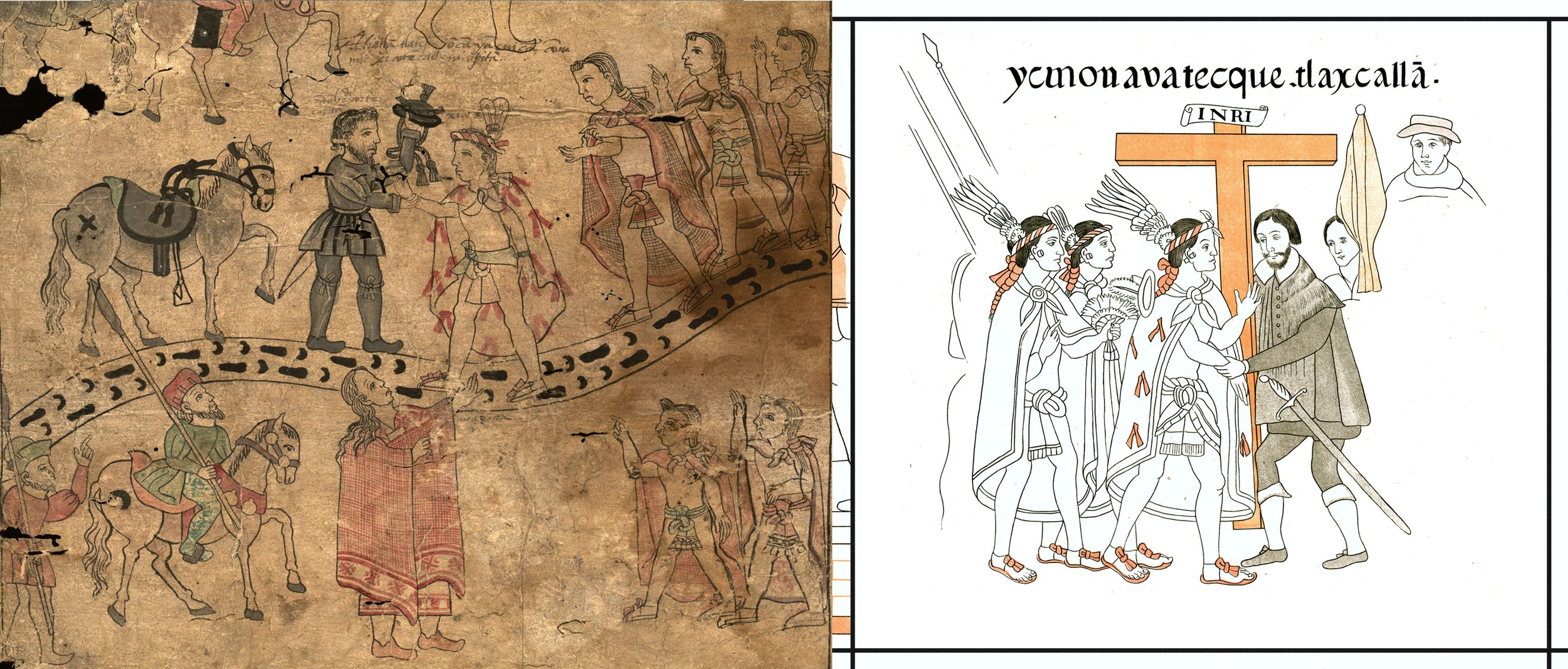 FIGURE 9. Comparison of a scene from the Texas Fragment with its cognate in the Lienzo de Tlaxcala (cell 5).