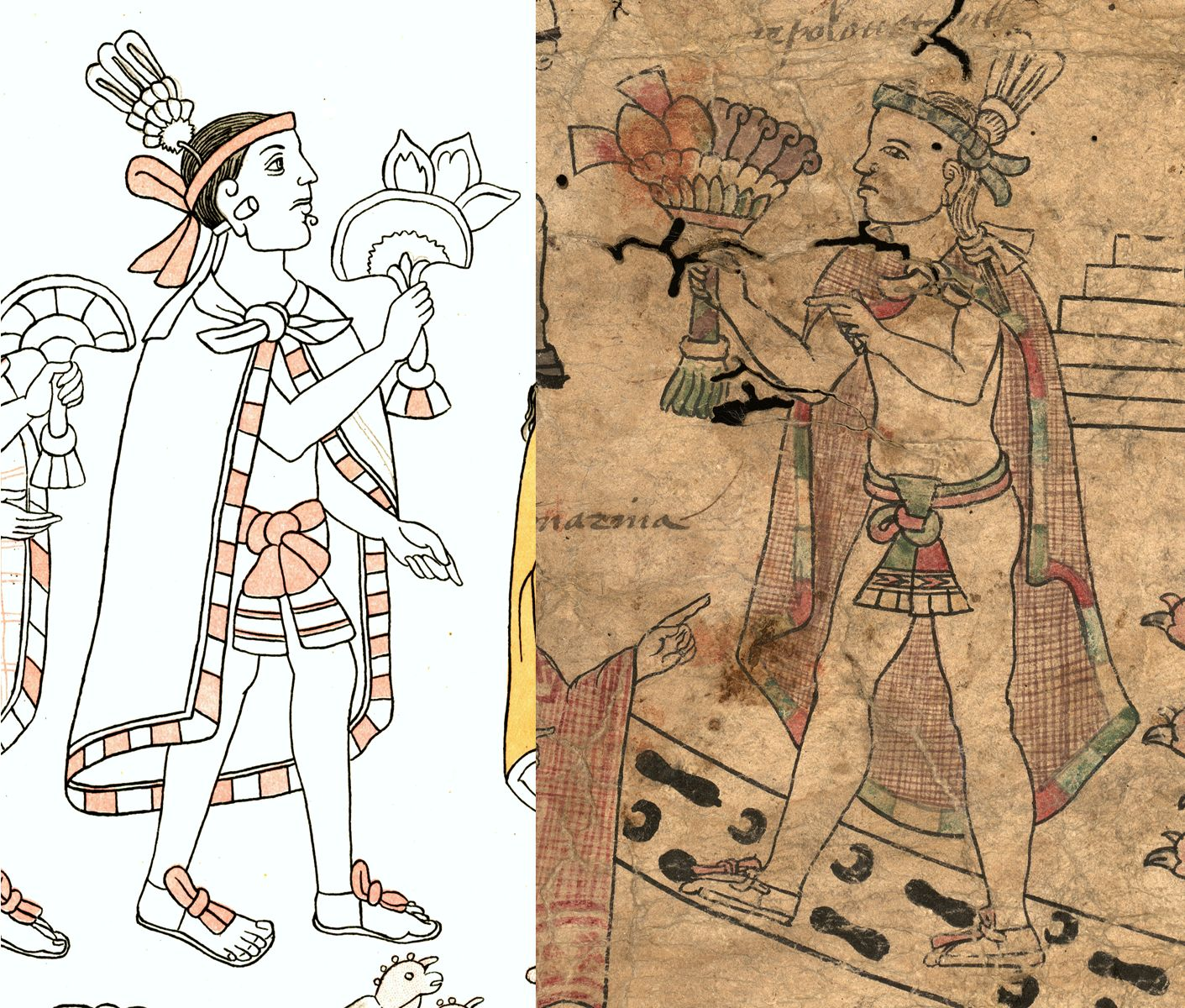 FIGURE 10. Comparison of drawing style in the Texas Fragment and the Lienzo de Tlaxcala: a Tlaxcalan lord (cell 4).