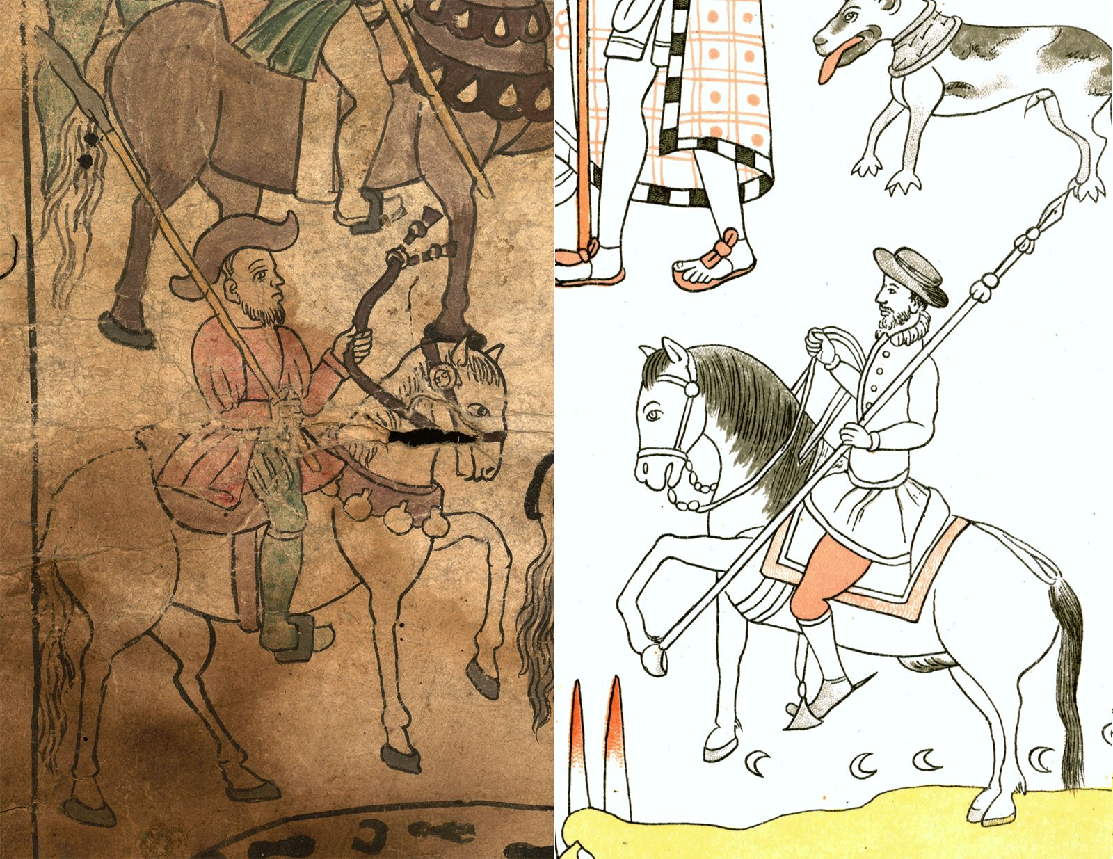 FIGURE 11. Comparison of drawing style in the Texas Fragment and the Lienzo de Tlaxcala: a mounted European (cell 10).