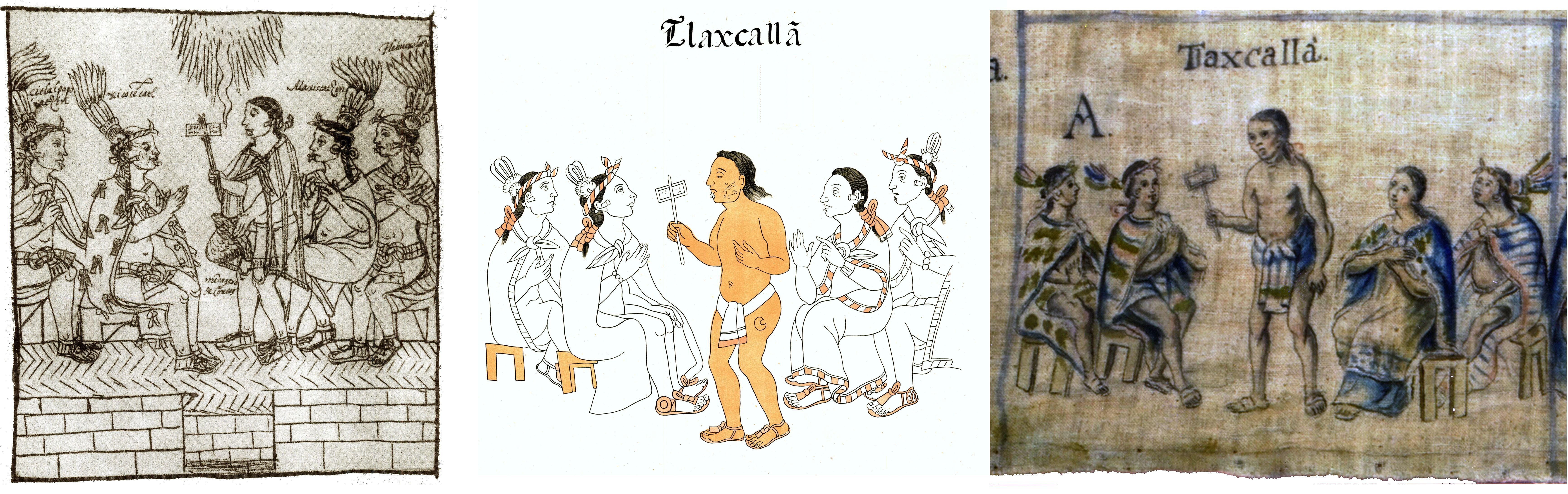 FIGURE 12. Comparison of cell 1 from the Lienzo de Tlaxcala with cognate scenes in the _Historia de Tlaxcala_ and the 1773 copy.
