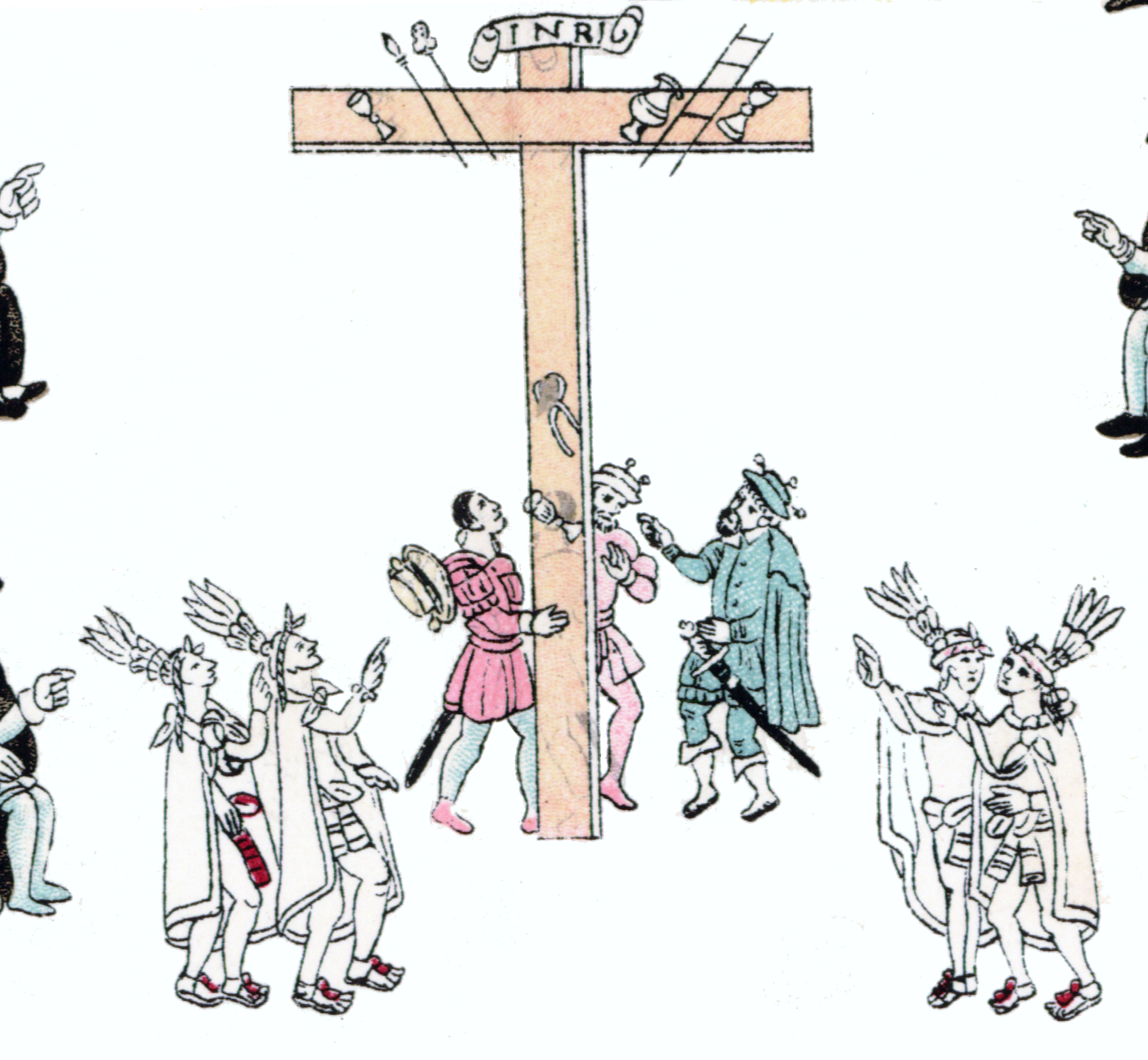 FIGURE 15. Detail of the erection of the cross in the main scene of the Lienzo de Tlaxcala.