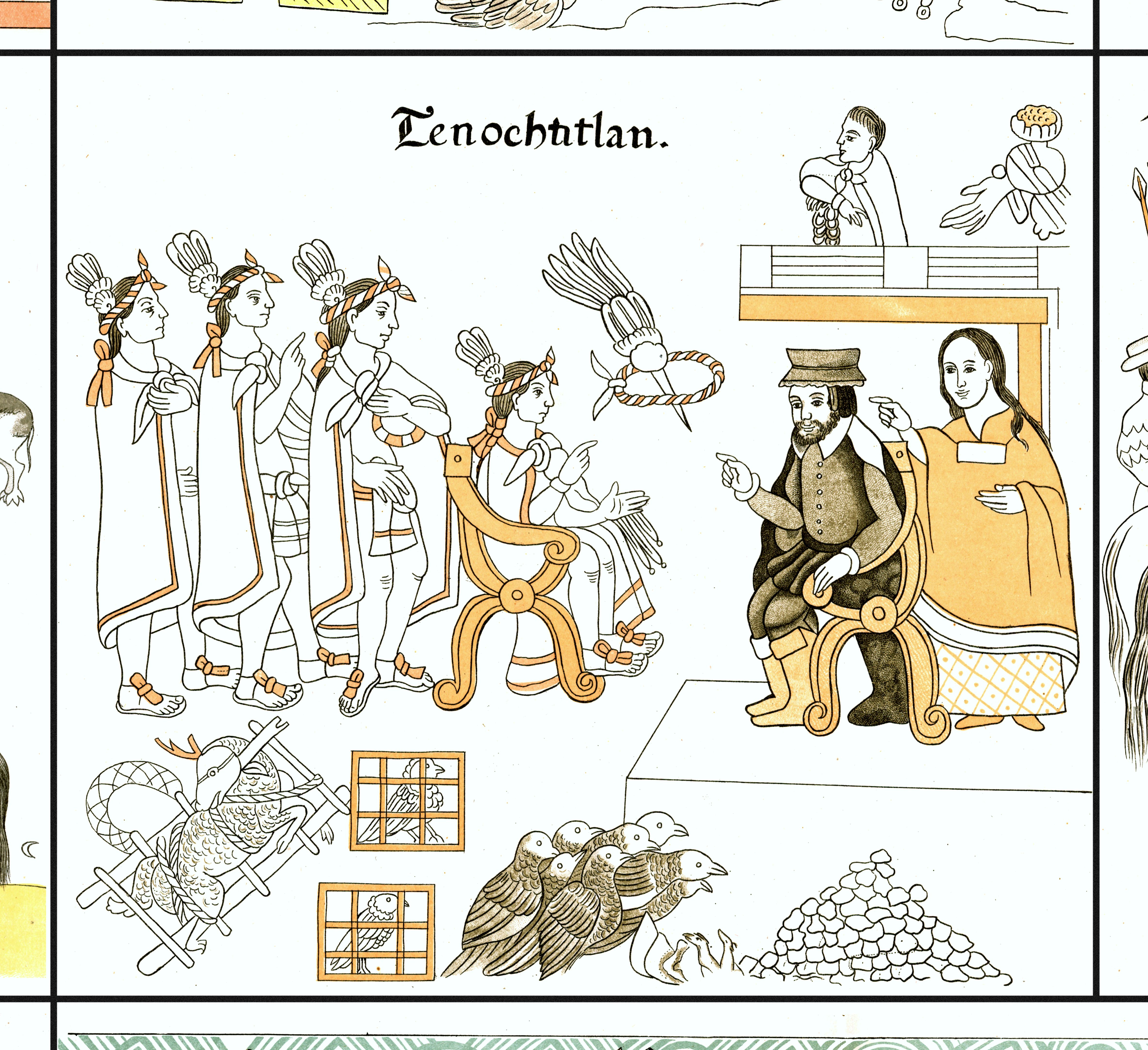 FIGURE 19. Cell 11: Cort�s and Malinche meet with Moctezuma in Tenochtitlan.