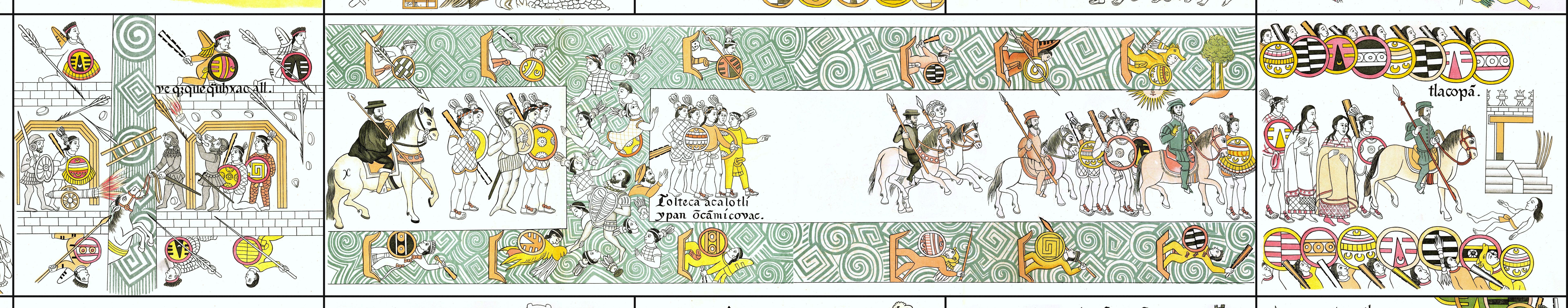 FIGURE 20. Cells 17 to 19: The flight from Tenochtitlan on the Noche Triste.