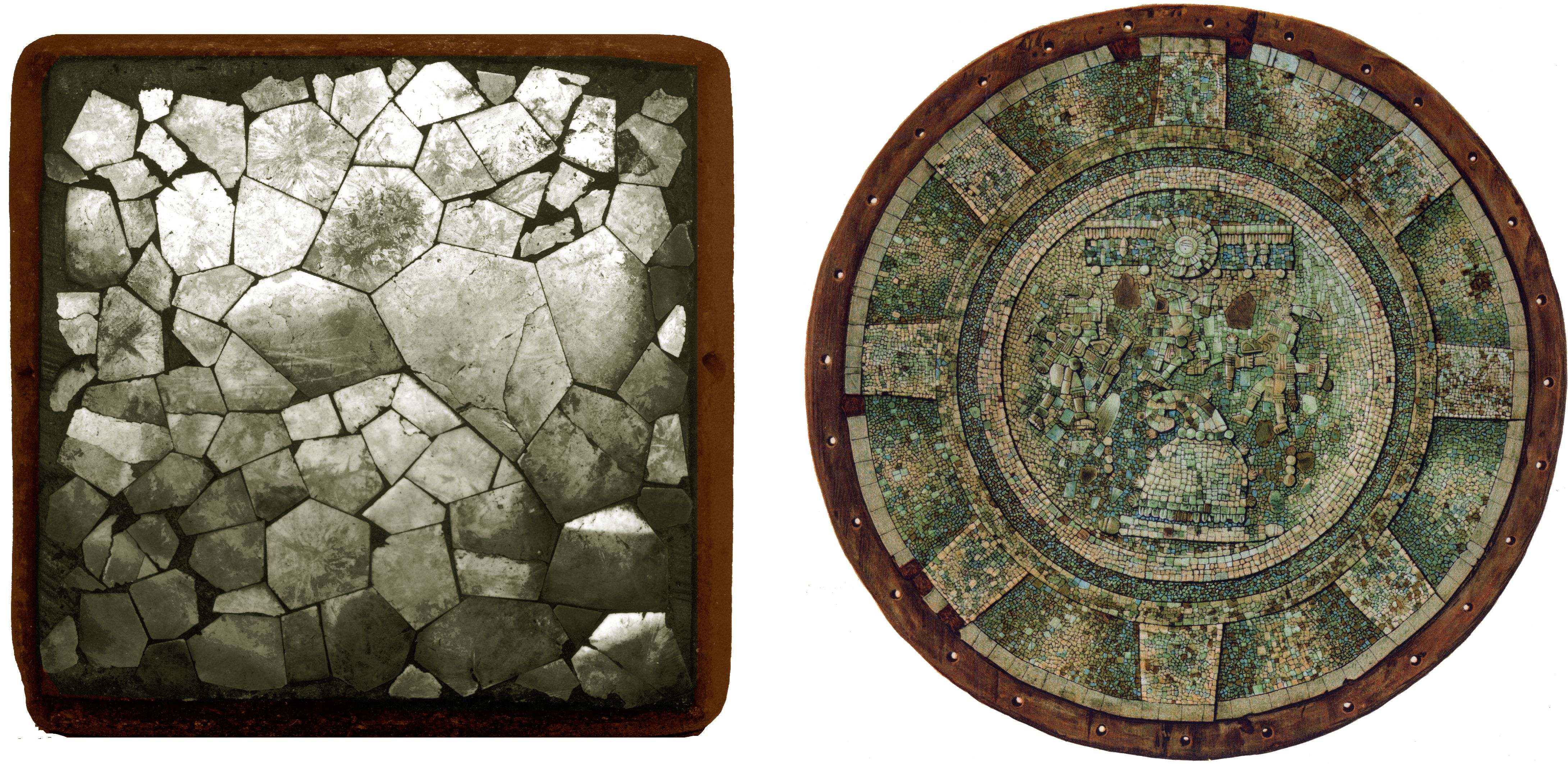 FIGURE 31. Mosaic mirrors from Mesoamerica (not to scale). On the left, a Classic-period mirror from the site of Kixpék, Guatemala (courtesy of The University Museum, University of Pennsylvania; accession # NA11610). On the right, a Postclassic turquoise mosaic mirror-shield from Central Mexico (from Saville 1922, frontispiece).