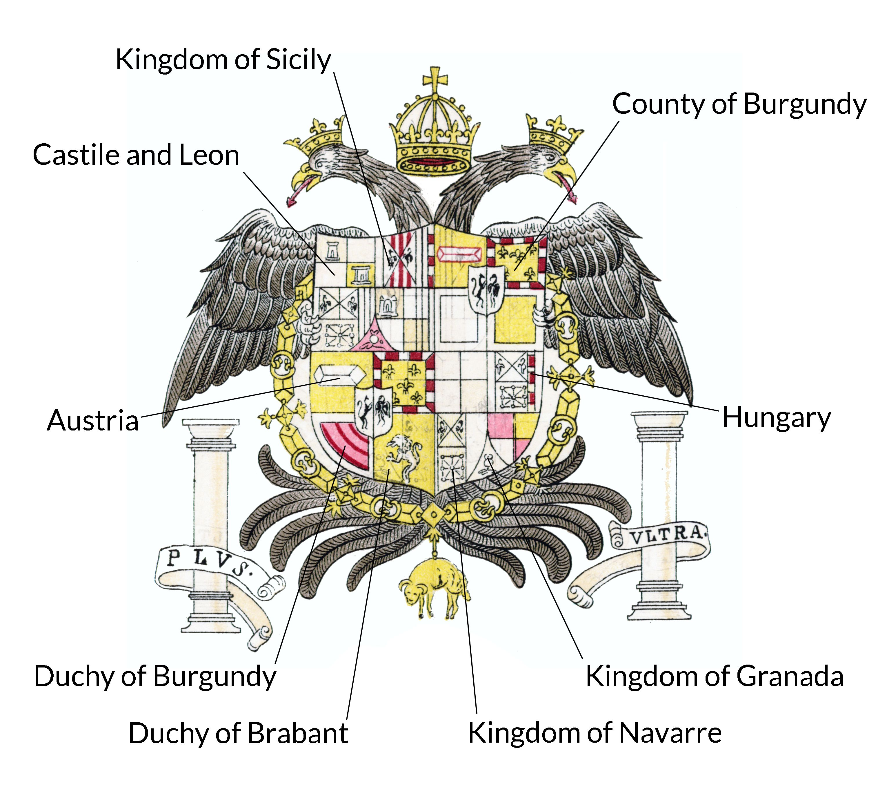 FIGURE 33. The kingdoms of the Holy Roman Empire in the coat of arms of Emperor Charles V.