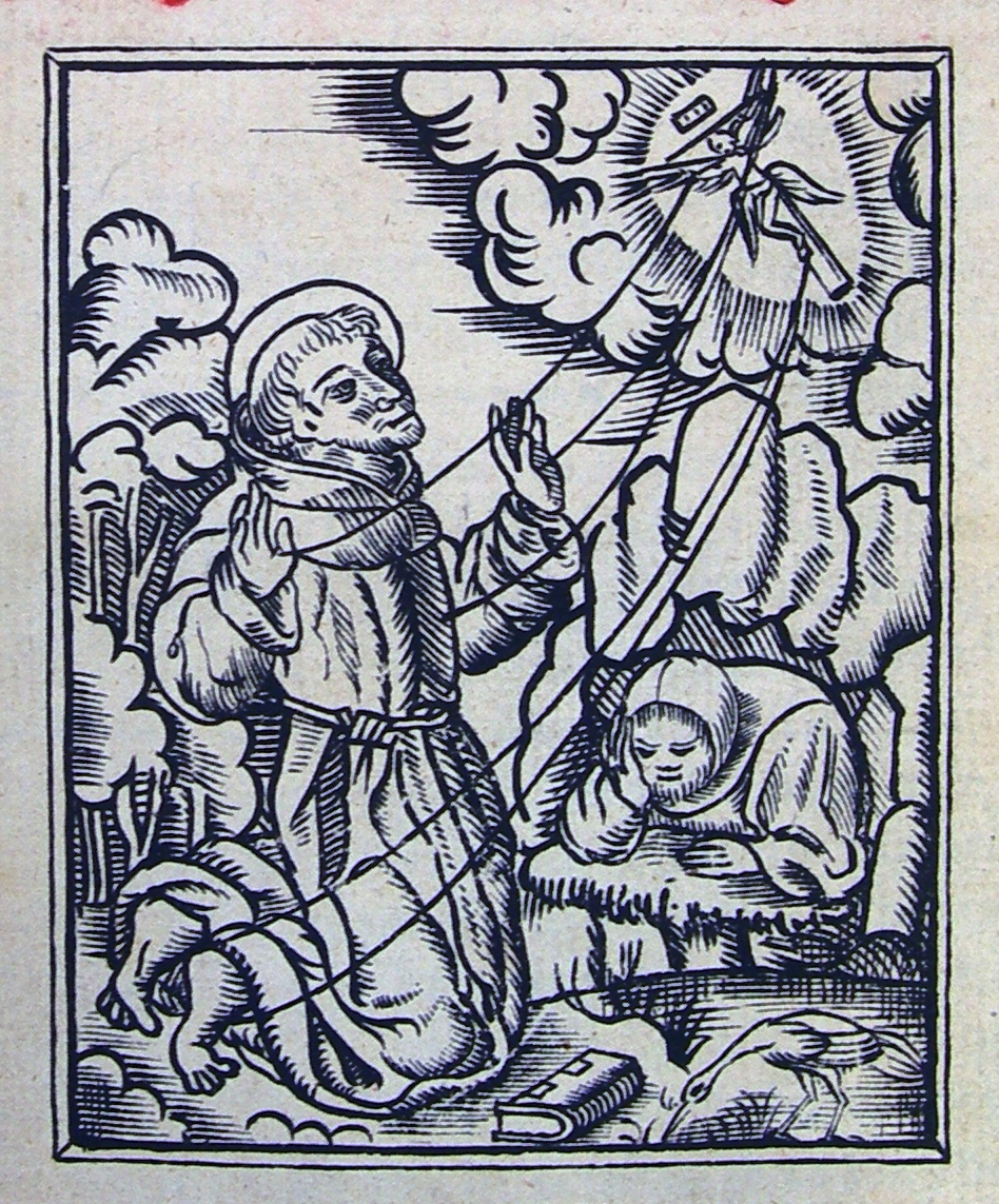 FIGURE 1. St. Francis receives the stigmata on the frontispiece to Alonso de Molina�s 1555 Castilian to Nahuatl _Vocabulario_.