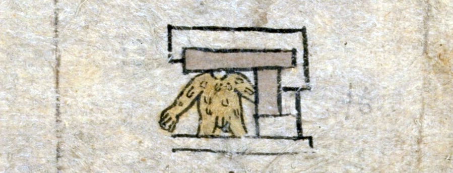 FIGURE 3. Flayed human skin in the place sign for Ehuacalco, �In the House of Skin,� on folio 10v of the Matr�cula.