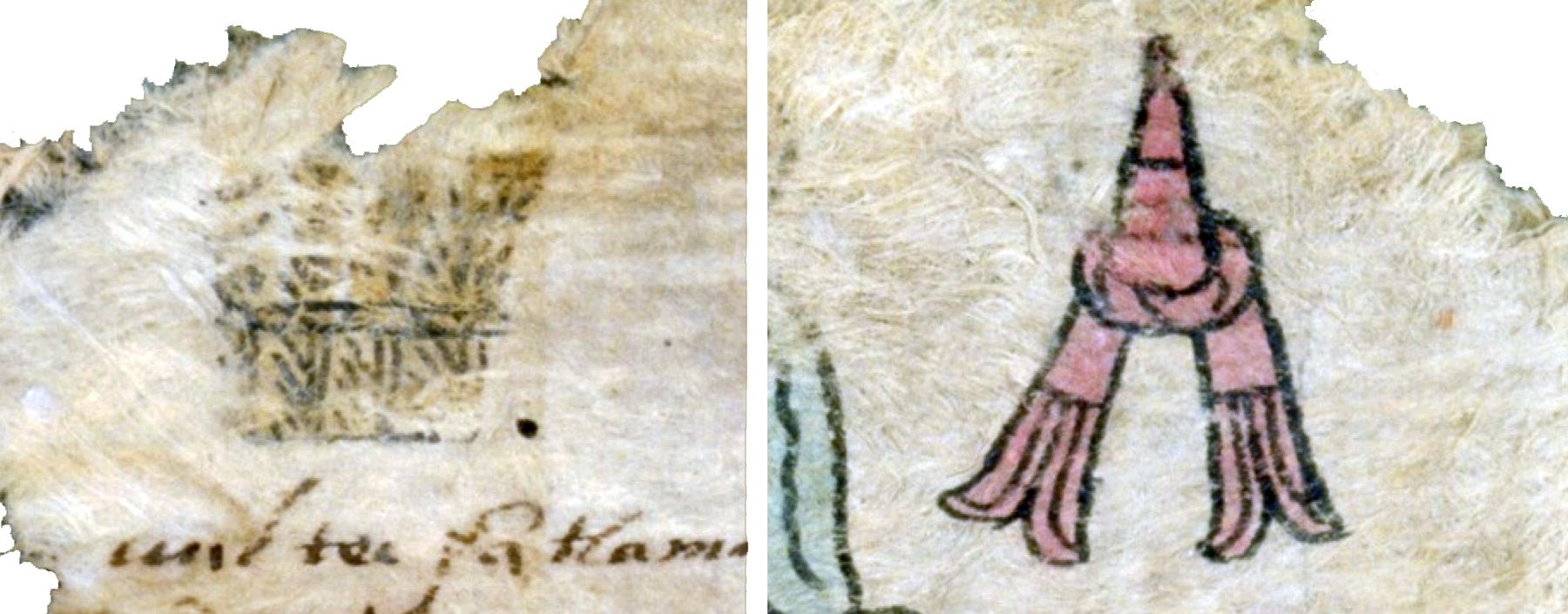 FIGURE 8.  The signs for the months of Ochpaniztli (left) and Tlacaxipehualizti (right) on folio 13r of the Matrícula de Tributos.