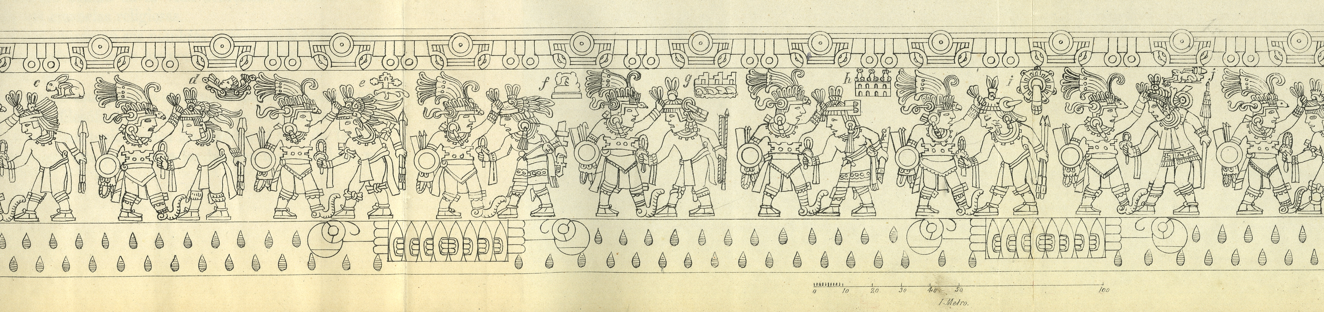 "FIGURE 7. Line drawing of the scenes that run around the edges of the Stone of Tizoc. Place signs have been labeled (in this detail) c-j. Note that the ground is represented as the personified Earth; two rectangular flint-filled mouths, each framed by round eyeballs, open up to the scenes of warfare above. From Manuel Orozco y Berra's 1877 ""El cuauhxicalli de Tizoc."""