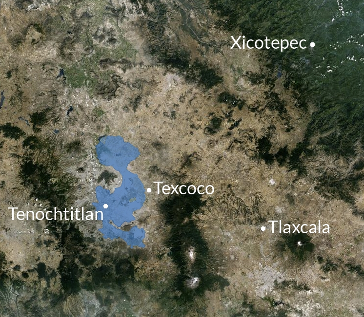 FIGURE 8. Map of Texcoco, Xicotepec, and Tlaxcala. The former location of the now-dried Lake Texcoco has been highlighted in blue. Tenochtitlan was located on an island in the middle of this lake, indicated here with a white dot.