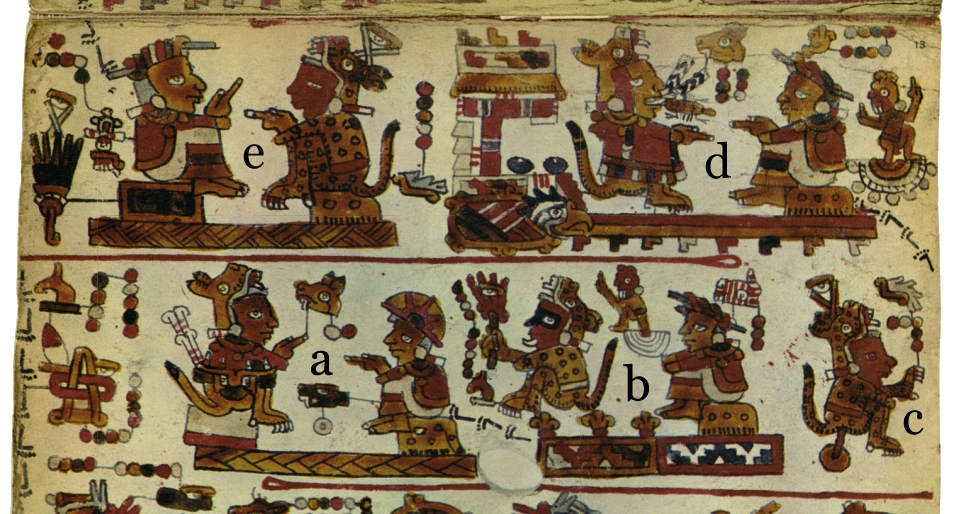 FIGURE 11. Detail from page 13 of the Codex Selden: a) Lord 2 Jaguar and Lady 1 Serpent are married; b) Lady 1 Serpent's parents are Lord 9 House and Lady 3 Rabbit, rulers of Place of Flowers and of Tilantongo; c) The son of Lord 2 Jaguar and Lady 1 Serpent, Lord 5 Water, is born; d) Lord 6 Jaguar and Lady 8 Flower (the daughter of Lord 2 Jaguar and Lady 1 Serpent) are married at Temple of the Beans, Stone of the Eagle; e) Lady 7 Rain and Lord 5 Water are married.