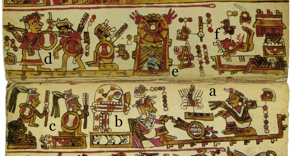 FIGURE 12. Detail from pages 7-8 of the Codex Selden: a) Lady 6 Monkey confers with an oracle, Lady 9 Grass... b) at Temple of the Skull or Chalcatongo; c) Temple warriors are armed for battle; d) Lady 6 Monkey captures two rival elites; e) Hill of the Moon, Hill of the Insect is conquered; f) One of Lady 6 Monkey's captives is sacrificed at the temple of Jaltepec.