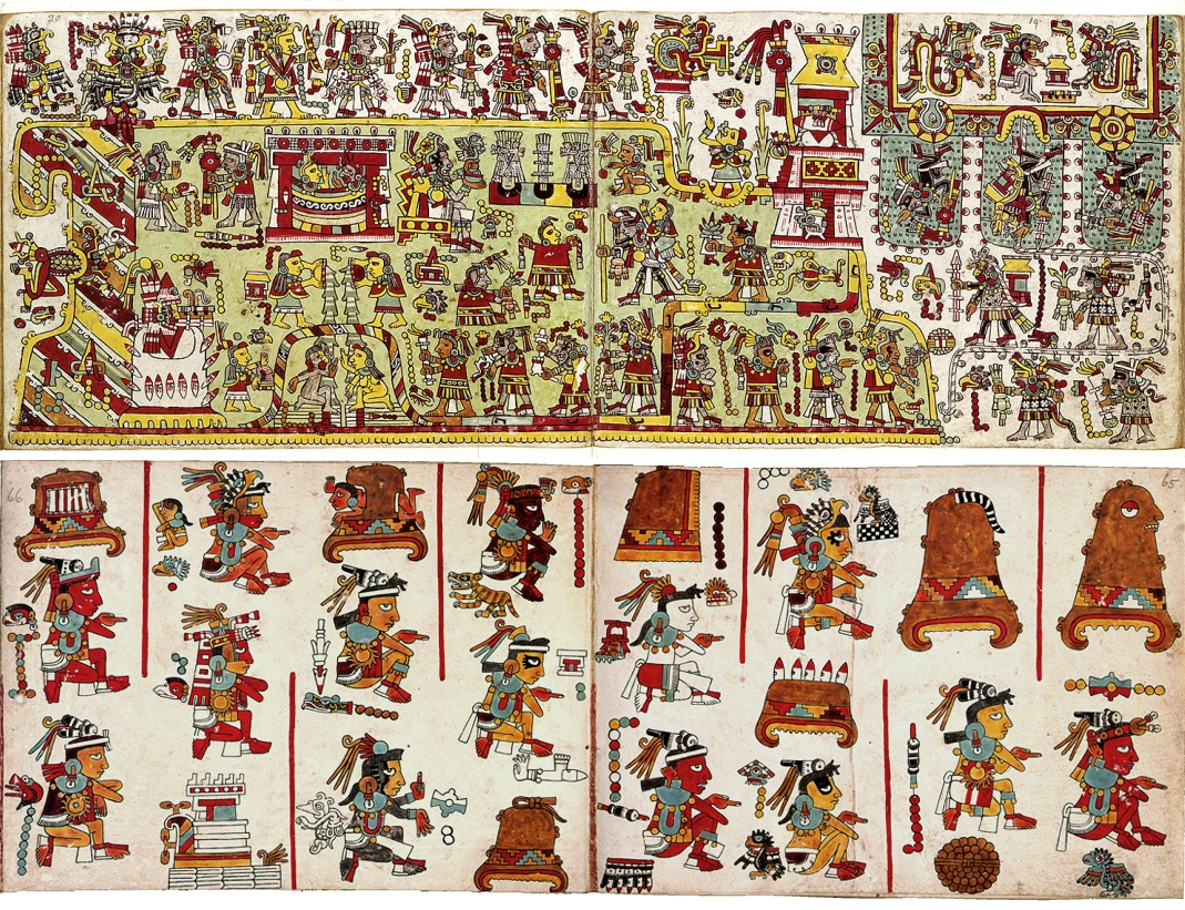 FIGURE 16. The same two folds of the Codex Nuttall, seen from the front (pages 19a-19b) and back (pages 60-62), demonstrating their very different styles.