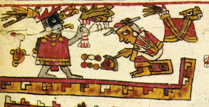 FIGURE 6. Lady 6 Monkey receives a new personal name, from page 8 of the Codex Selden.